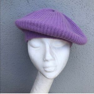 Vintage purple beret lambswool and angora one size